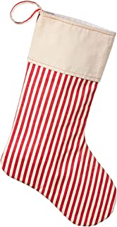 Candy Striped Red Cream Ticking 24 inch Polyester Decorative Christmas Stocking