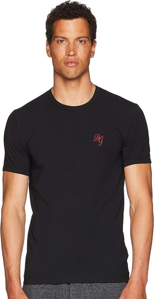 Dolce & gabbana t-shirt, maglietta da uomo, in cotone elasticizzato, 95% cotone, 5% elastan N8D15J FUGIA