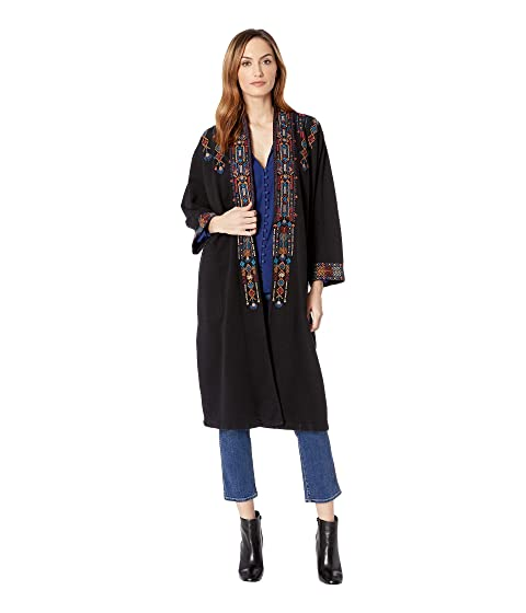 JOHNNY WAS Cleo Embroidered Long Coat in Black