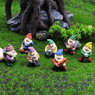 Panin 1/7 Pieces Miniature Garden Gnomes Decoration, Mini Gnome Figurines for Indoor Outdoor Fairy Garden Decor Micro Land...
