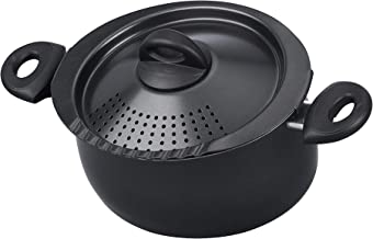 Bialetti Oval 5 Quart Pasta Pot with Strainer Lid, Nonstick, 1, Black