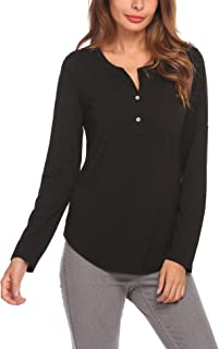 Eather Womens V Neck Long Sleeve Solid Tunic Button Down High Low Casual Loose Shirt Tops