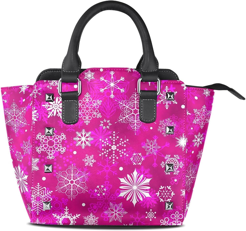 My Little Nest Women's Top Handle Satchel Handbag Christmas Beautiful Snowflakes Ladies PU Leather Shoulder Bag Crossbody Bag