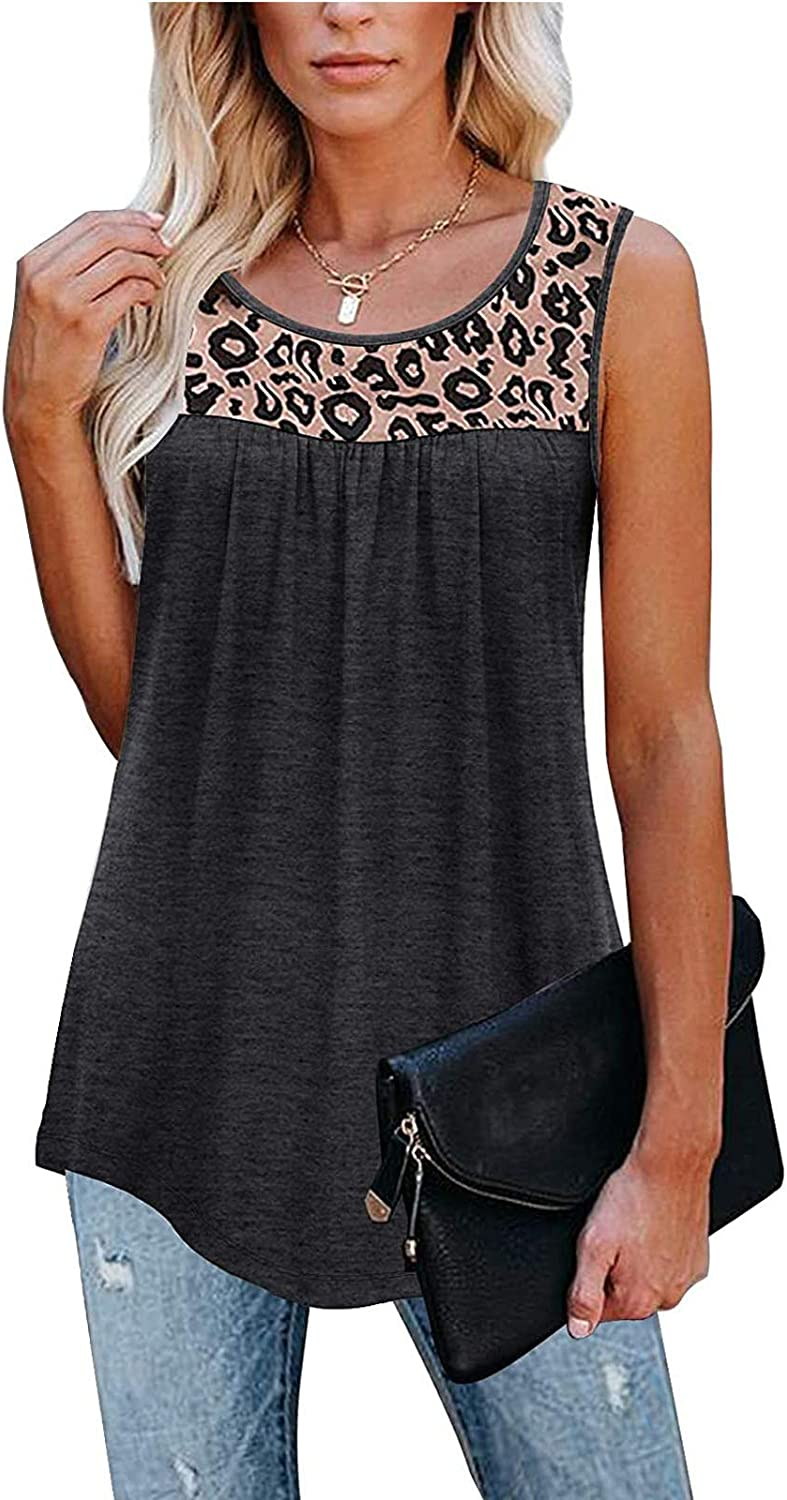 Tank Tops for Women, Womens Summer Shirts Blouse Ruffle Loose Active Casual Round-Neck Sleeveless Tunic Shirts