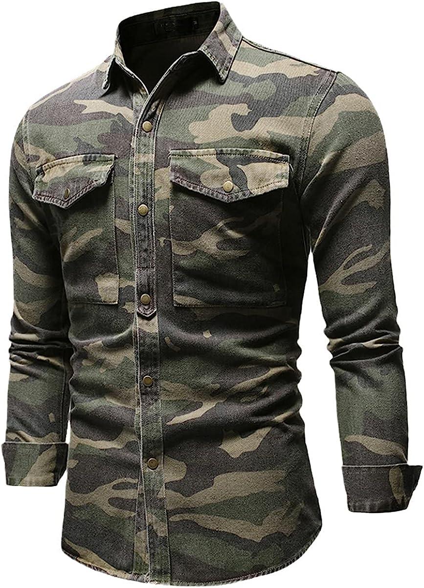 Camouflage Long-Sleeved Denim Shirt Men's Casual Lapel Single-Breasted Fashion Denim Shirt Spring Shirt