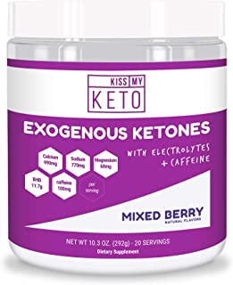 Kiss My Keto Pre Workout - Exogenous Ketones Caffeine and Electrolytes Powder Drink, 20 Servings Mixed Berry, GoBHB, Boost Energy and Metabolism, Get Into Ketosis