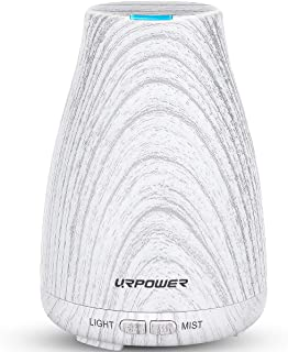 URPOWER Essential Oil Diffuser Mini Wood Grain Cool Mist Humidifier Aromatherapy Diffuser for Essential Oils Auto Shut-Off Safety Switch & 14 Color Night Lights for Home Office Spa Yoga Baby Study