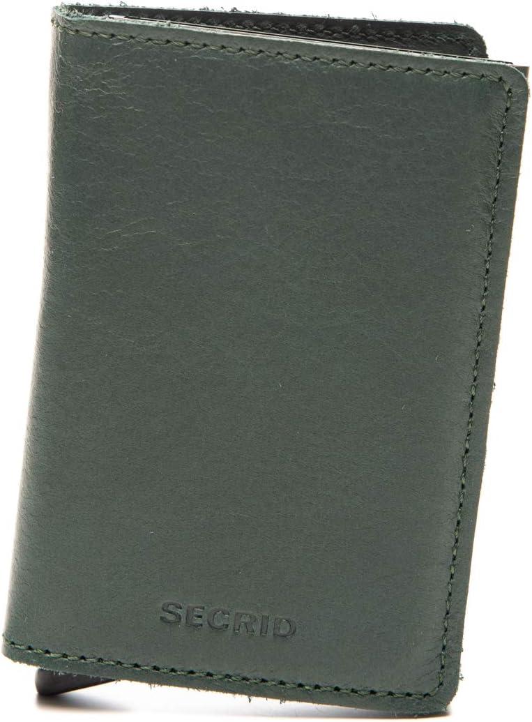 SECRID - Secrid Slim wallet Genuine Original Leather, RFID Safe Card Case for max 12 cards (Green)