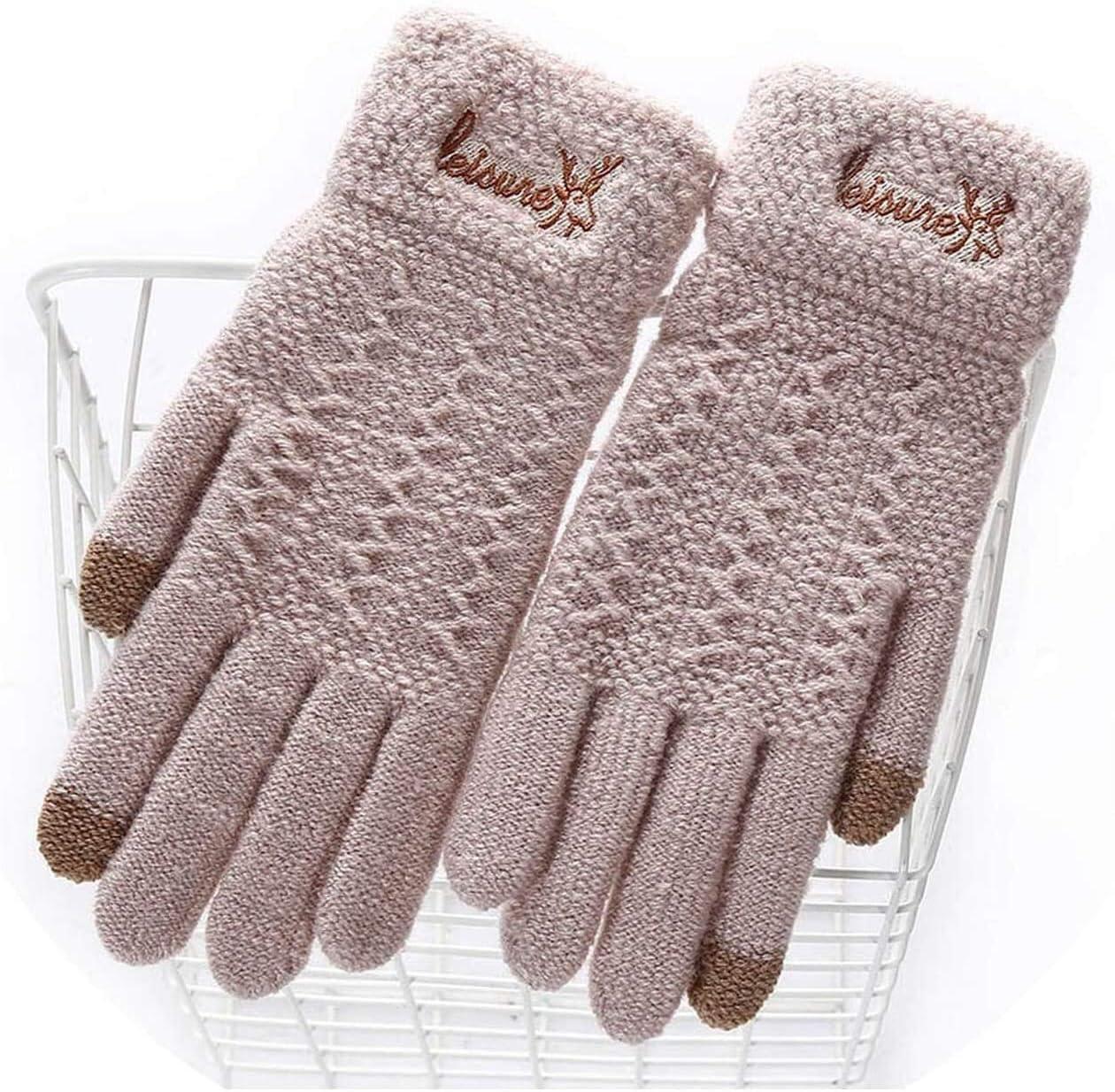 Samantha Warm Gloves Ladies Winter Warm Cute Cartoon Finger Knit Touch Screen Gloves Women Full Finger Soft Mittens Black Gloves (Color : E Soft White, Size : Oneszie)