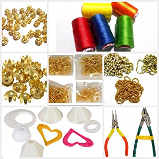 GOELX Silk Thread Jewellery Making Materials Kit With Threads,All Decoration Materials,Chains,Colorful earring bases,Findings & Tools and lot more