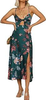 FASHIONMIA 2021 Boho Spaghetti Ruffle Maxi Midi Dress Solid/Floral Adjustable/Elastic Strap