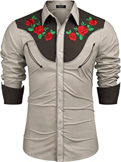 COOFANDY Men's Embroidered Rose Design Western Shirt Long Sleeve Button Down Shirt