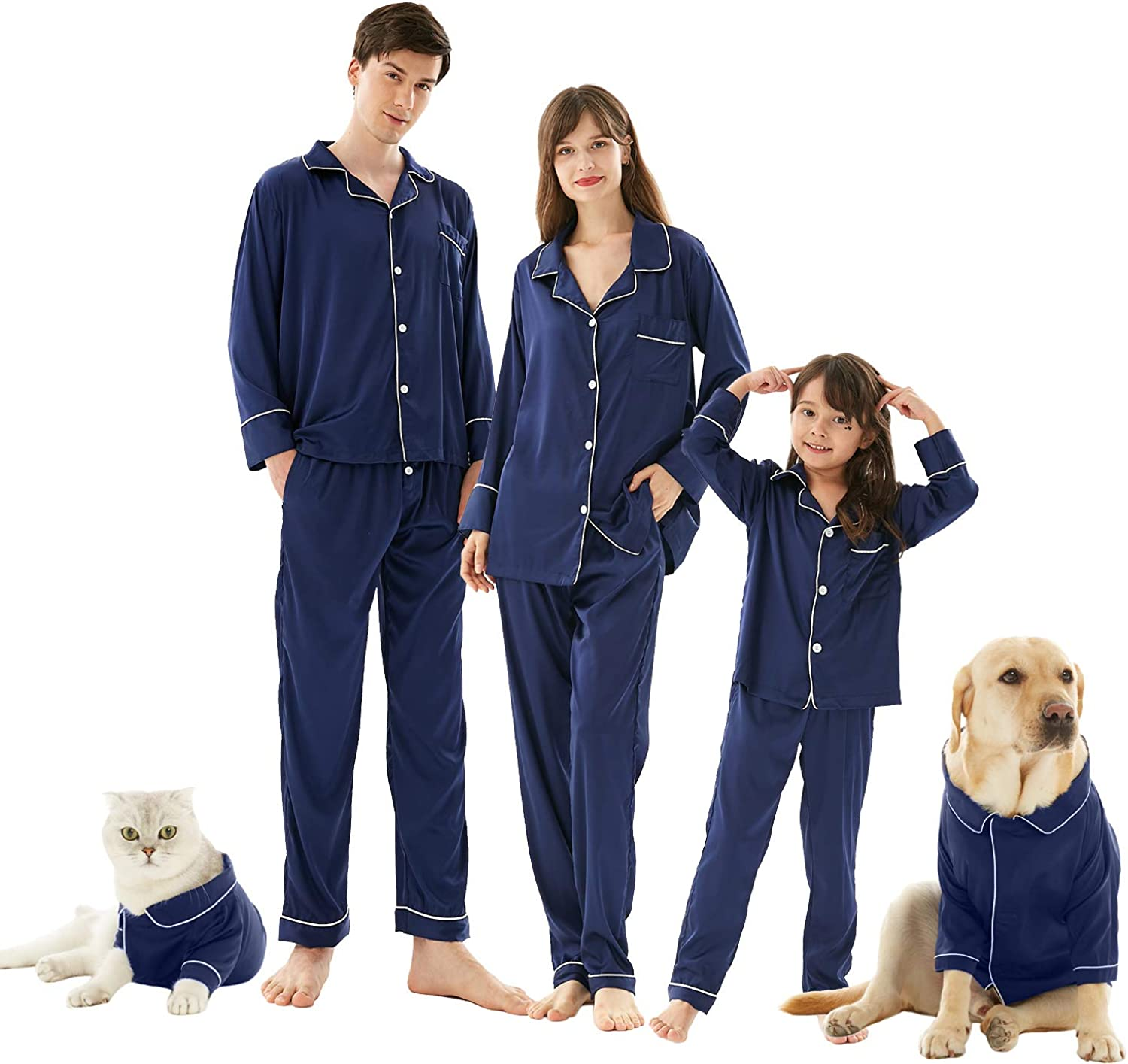 Mens Christmas Pajamas, Silk Soft Satin Comfort Long Sleeves 2-Pieces Pajamas Set Sleepwear Pjs for Indoor Home for Family Matching Size XL Navy
