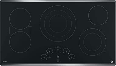 Amazon Com Ge Pp9036sjss 36 Inch Electric Cooktop With 5 Radiant Bridge Syncburners 6 9 12 Inch Tri Ring 5 8 Inch Power Boil Element Red Led Touch Controls Ada Compliant Fits Guarantee Appliances