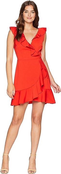 Ruffle Hem Overlap Dress