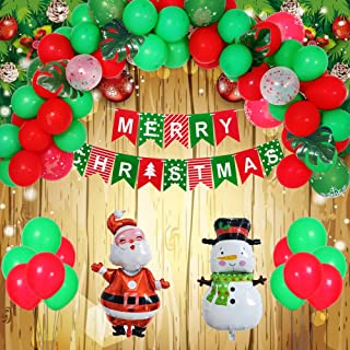 Christmas Decorations Set, 113PCS Christmas Party Decor Supplies - 16 Feet Balloon Arch & Merry Christmas & Santa Claus & Snowman & Green Leaves for Xmas Party Home Wall Door Decoration (Red, Green)