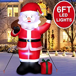 AerWo 6ft Christmas Inflatables Blow Up Yard Decorations, Greeting Santa Claus Inflatable with LED Lights for Christmas Yard Garden Decorations Outdoor