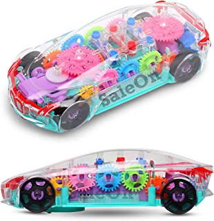 SaleOn Automatic 360 Degree Rotating Transparent Gear Concept Car with Lights Sound Toy Electric Toy Car Universal Gear Me...