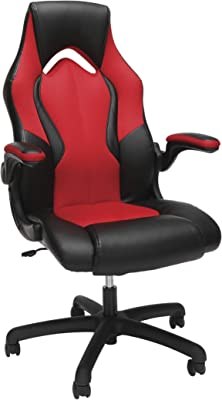 OFM ESS Collection High-Back Racing Style Bonded Leather Gaming Chair, in Red (ESS-3086-RED)