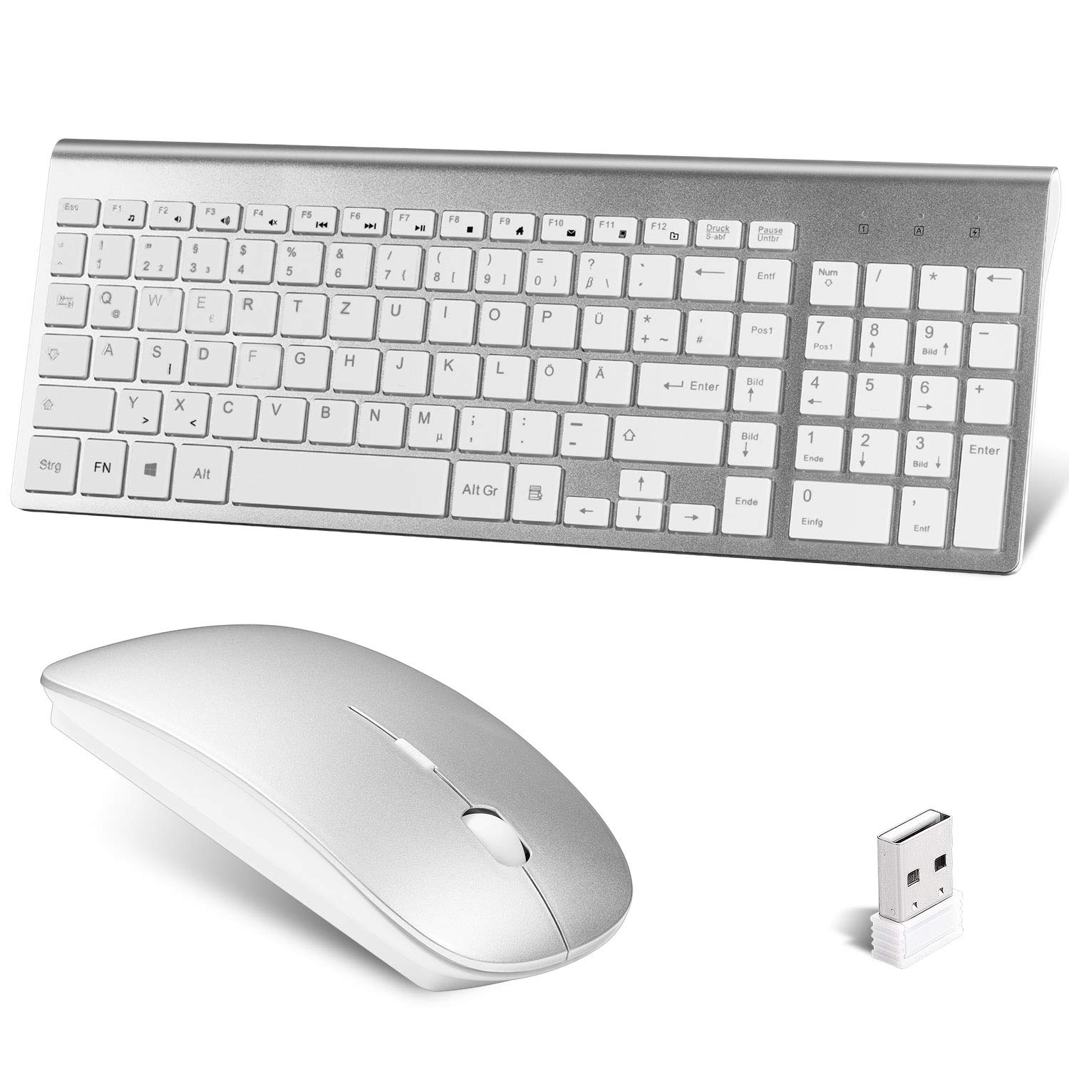 Juego de teclado inalámbrico, ratón ergonómico, silencioso, teclado fino QWERTZ 2,4 G, conexión inalámbrica mediante receptor USB unifying, para PC/portátil/Smart TV (disposición alemana): Amazon.es: Oficina y papelería