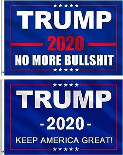 Jetec 2 Pieces Donald Trump for President 2020 Flag NO More Bullshit Flag Keep America Great Flag (ColorA)