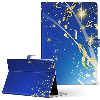 igcase dtab d-01G Huawei ファーウェイ タブレット 手帳型 タブレットケース タブレットカバー カバー レザー ケース 手帳タイプ フリップ ダイアリー 二つ折り 直接貼り付けタイプ 006821 フラワー 音符 青 ブルー
