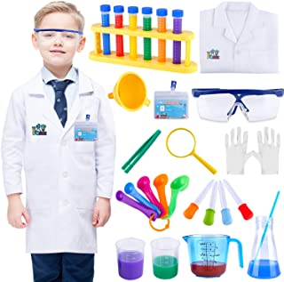 INNOCHEER Kids Science Experiment Kit with Lab Coat Scientist Costume Dress Up and Role Play Toys Gift for Boys Girls Kids...