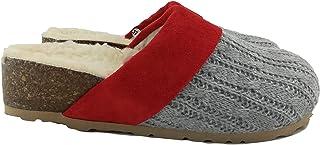 Silfer Shoes - Made in Italy - Scarpa - Zoccolo - Sabot in Vero Sughero,Lana, Tessuto e Pelle di camoscio, Colore Grigio/R...