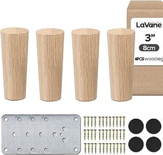 La Vane Patas de madera para muebles, juego de 4 patas de repuesto de madera maciza con placa de montaje y tornillos para sofá, TV, armario, cama, mesa de comedor