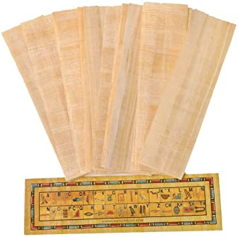 10 Egyptian Papyrus Paper Blank Bookmarks for Art Projects and Schools 7.2 x2.0 inch (5x18 cm) by CraftsOfEgypt
