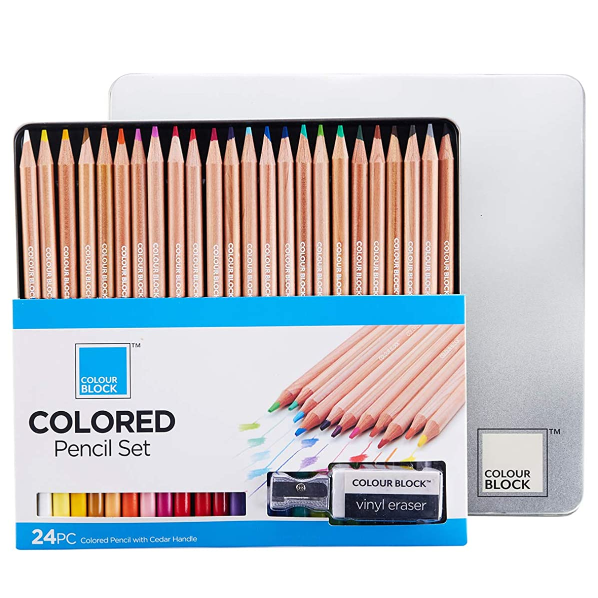COLOUR BLOCK 24 Colored Pencils with Cedar Handles, Set Comes in a Tin Storage Box with Bonus Vinyl Eraser and Sharpener