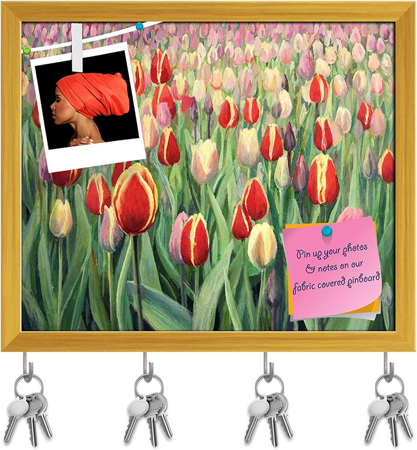 Artzfolio colorful Tulips D2 Key Holder Hooks   Notice Pin Board   golden Frame 19.1 X 16Inch