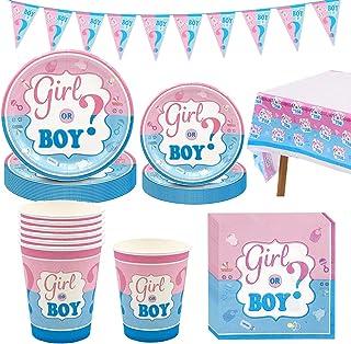 Amycute 66-teiliges Gender Reveal Party Dekoration Babyparty Geschlecht Offenbaren Baby Deko, einschließlich Teller, Beche...