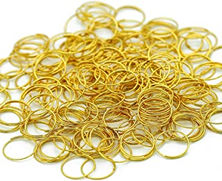 H&D 500pcs Round Edged Split Circular Ring Clips for Crystal Lamps, Crystal Curtain, Crystal Garland, Necklaces, Keys, Earrings, Jewelry Making and Craft Ideas (11mm, Golden)