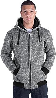 Eurogarment Plus Size S-5XL Marled Heavyweight Fleece Hoodie for Men Sherpa Lined Full Zip Up Long Sleeve Winter Jacket Coat
