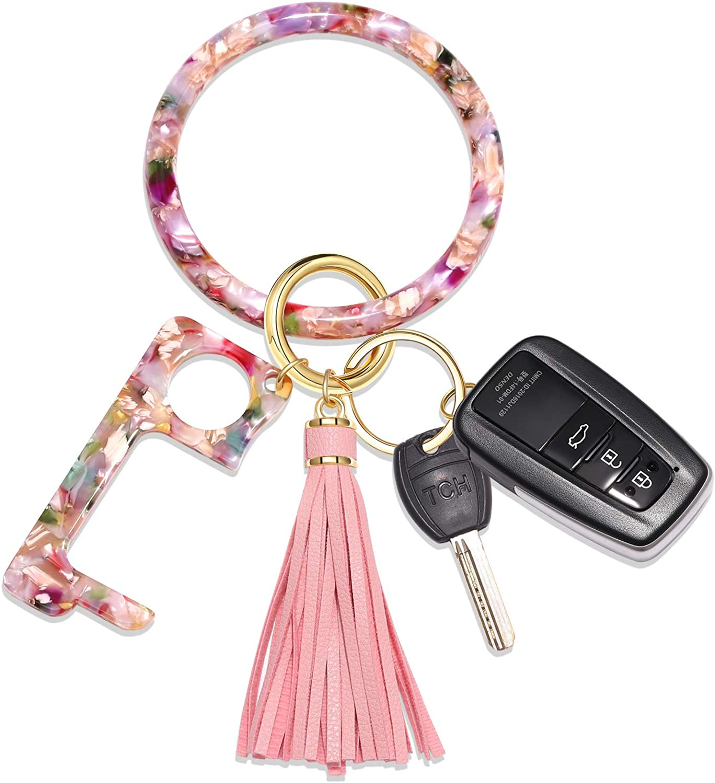 Key Ring Bracelet Wrist Keychain Bracelet Acetate Resin Keychain Wristlet Car Keychain For Women