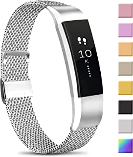 Meliya Metal Loop Bands Compatible with Fitbit Alta/Fitbit Alta HR, Stainless Steel Mesh Megnet Lock Replacement Wristbands for Women Men