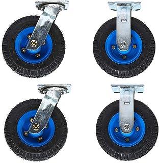 LKLXJ Pneumatische zwenkwielen, Draaibare rubberen zwenkwielen, Traditionele zwenkwielen, 360 graden flexibele rotatie, La...