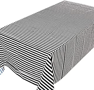 Black and white striped theme Table Cloth of Disposable Plastic Rectangular Table Cloth Plastic Table Cover Birthday Party...