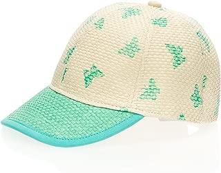 Kids Straw 棒球帽 可爱女孩 粉彩蝴蝶 篮子 编织 后搭扣帽