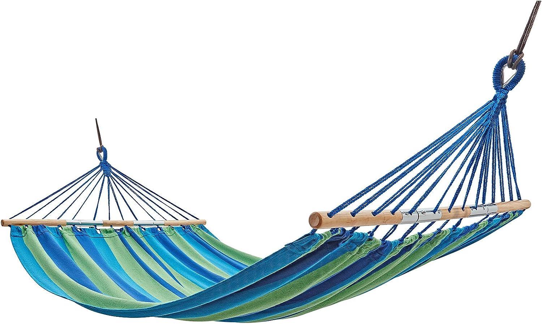 KingCamp Hamaca Jardin Doble para Acampar Amaca Colgante Portátil Duradera Algodón 200x140 cm con Esparcidor de Madera Capacidad de 150 kg Hamaca Plegable para Camping Viajes