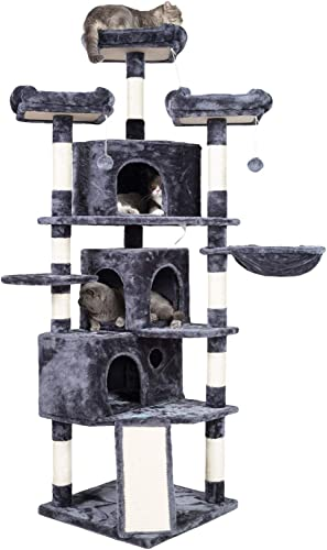 new arrival Hey-brother XL Size Cat 2021 Tree, Cat Tower with 3 Caves, 3 Cozy Perches, Scratching discount Posts, Board, Activity Center Stable for Kitten/Gig Cat online sale