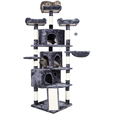Hey-brother XL Size Cat Tree, Cat Tower with 3 Caves, 3 Cozy Perches, Scratching Posts, Board, Activity Center Stable for Kitten/Gig Cat