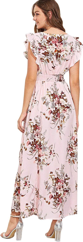 Milumia Womens Wrap V Neck Sundress Floral Boho Party Wedding Empire Waist Maxi Dress