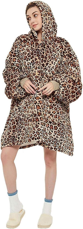 Gungungun Couverture de Sweat à Capuche, Sweat à Capuche Surdimensionné Doublé de Sherpa Sweats à Capuche Super Doux et Chaud en Polaire pour Hommes Femmes Enfants Leopard Print