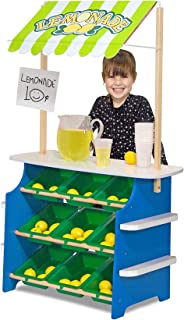 Melissa & Doug Grocery Store/Lemonade Stand (Play Food, Wooden Play Center, Portable Plastic Bins, Sturdy Construction, Great Gift for Girls and Boys - Best for 3, 4, 5, and 6 Year Olds)