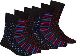 Pierre Roche Mens Non Elastic Loose Top Premium Comfort Cotton Rich Socks 2pk-Purple-Grey 6-11