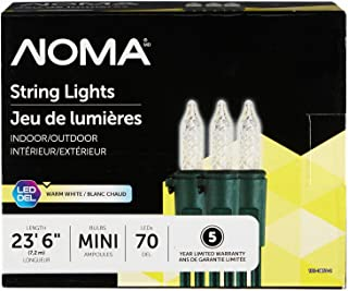 NOMA Premium Mini LED Christmas Lights | Indoor/Outdoor String Lights | Clear Warm White Bulbs | 70 Light Set | 23.6 Foot Strand