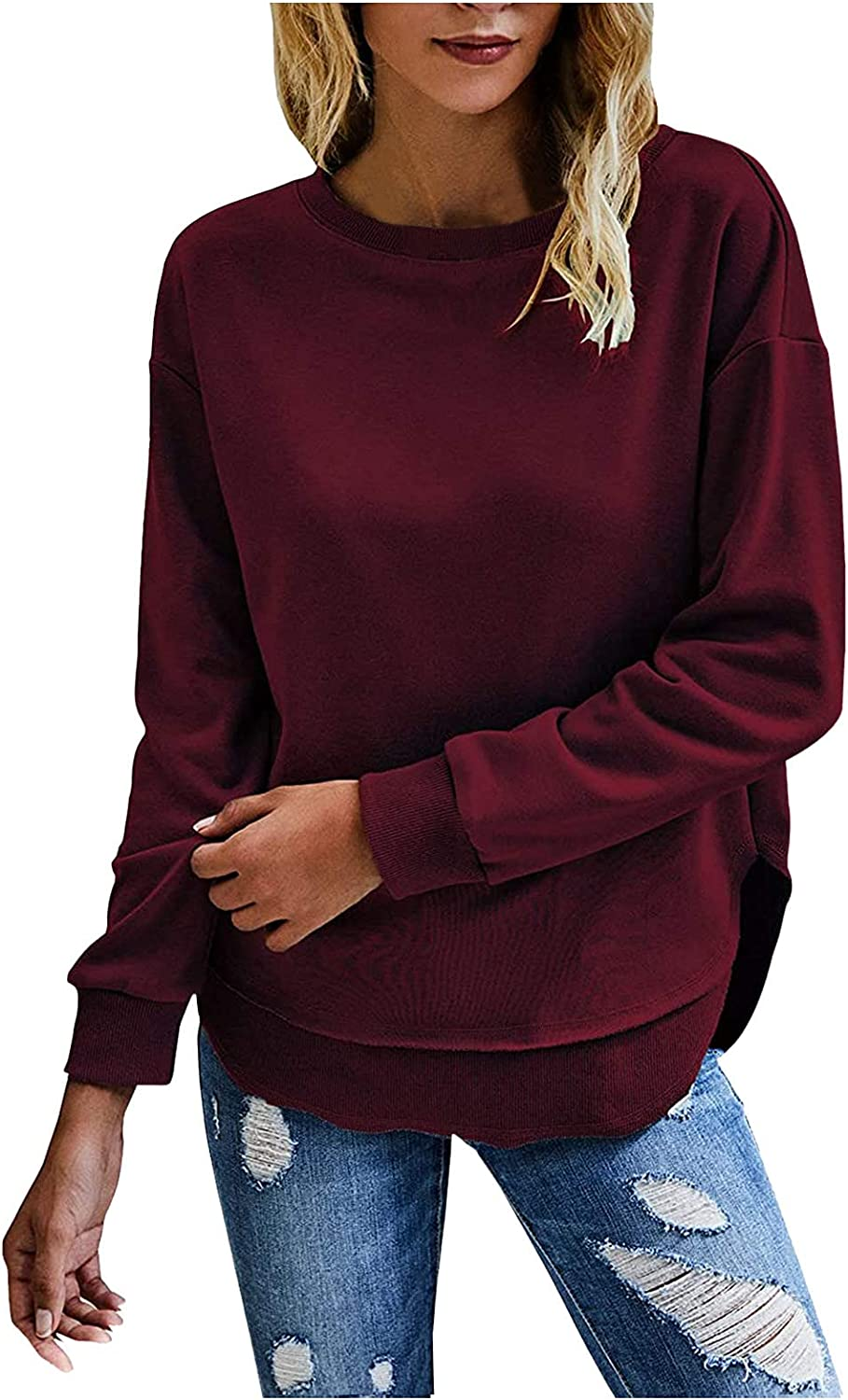 PLENTOP 2021 Women's Solid Color Sporty Sweatshirt Crew Neck Long Sleeves Pullover Ribbed Cuffs Hems Sweaters Outwear