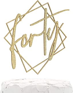 NANASUKO 40th Birthday Cake Topper - forty - with Modern Geometric Frame - Double Sided Gold Glitter - Premium Quality Made in USA